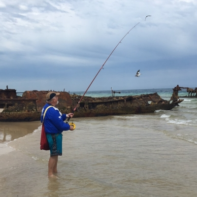 Bruce Alvey testing an iconic reel at the Bulwer Wrecks