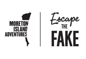 Escape the fake logo black on white