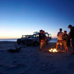 Family Dusk Beach Campfire Moreton