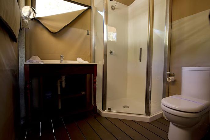 Glamping tent ensuite at Castaways on Moreton Island