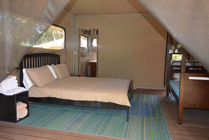 Inside view of one of the luxurious Glamping tents on Moreton Island