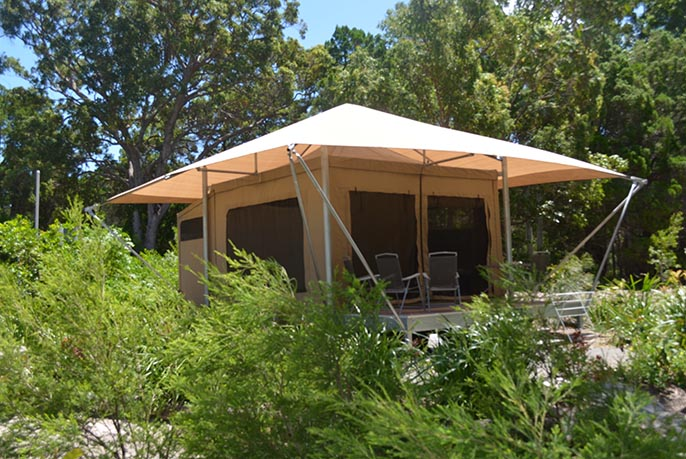 Glamp tent at Castaways on Moreton Island