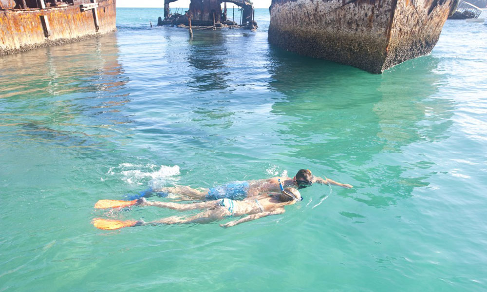 Moreton Island - Snorkel Young Couple Over Wreck