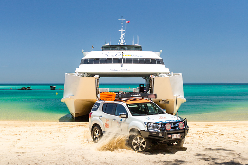 Moreton Island Adventures - 4WD driving off the Micat