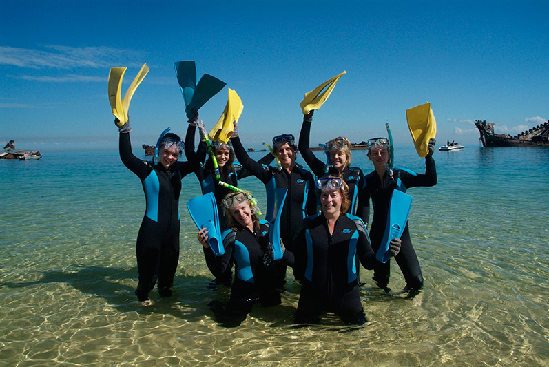 Moreton Island Adventures - Group snorkelling at the Wrecks