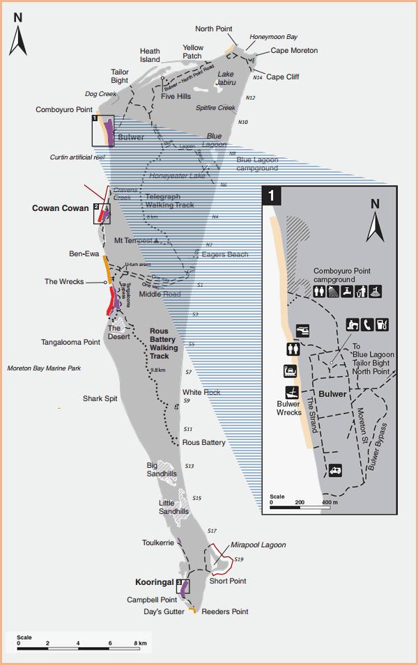 Map of Moreton Island